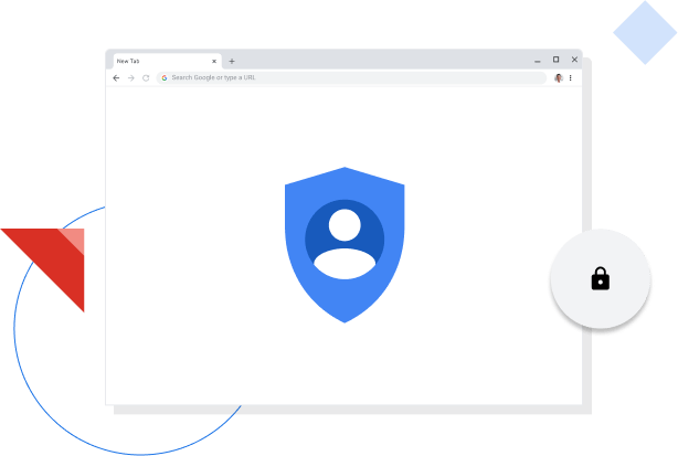 Chrome browser window displaying Google privacy icon.